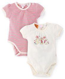Pumpkin Patch Short Sleeves Onesie Pack of 2 Multi Print - Pink White