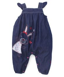 Pumpkin Patch Sleeveless Jumpsuit Bunny Embroidery - Blue