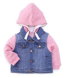 Pumpkin Patch Full Sleeves Hooded Jacket - Pink Blue
