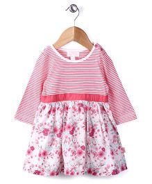 Pumpkin Patch Full Sleeves Frock Floral Print - Pink White