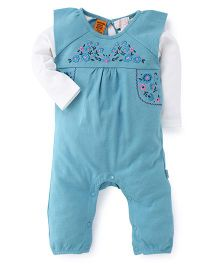 Pumpkin Patch Full Sleeves Romper Floral Print - Blue White