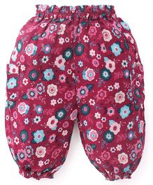 Pumpkin Patch Harem Pants Floral Print - Purple