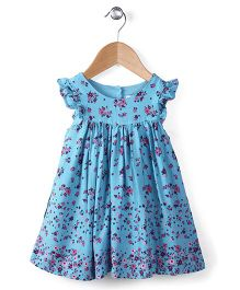 Pumpkin Patch Flutter Sleeves Frock Floral Print - Blue