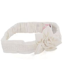 Pumpkin Patch Headband Floral Applique - White