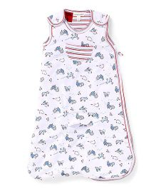 Pumpkin Patch Sleeping Bag Farm Animals Print - White