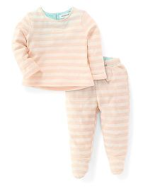 Pumpkin Patch Full Sleeves Top and Leggings Set - White And Peach