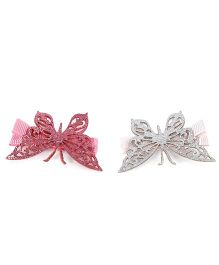 Pumpkin Patch Butterfly Clips Pack of 2 - Pink White