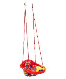 New Natraj Actvity Swing With Play Tray Teddy Print - Red