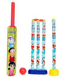 Doraemon 4 Wicket Cricket Set - Green Yellow