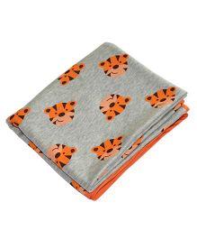 Kadambaby Double Layered Soft Jersey Baby Blanket Tiger Print - Grey & Orange