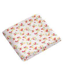 Kadambaby Double Layered Blanket Strawberry & Polkas  Print - White & Pink