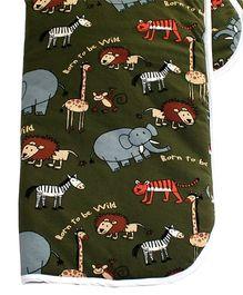 Kadambaby Jungle Animals Theme Quilted Blanket - Green