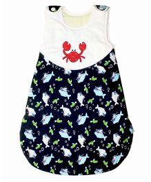 Kadambaby Sea Themed Quilted Sleeping Bag Black & White - Small