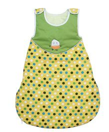 Kadambaby Doodle Themed Quilted Sleeping Bag Yellow & Green - Small