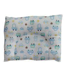 Kadambaby Baby Pillow Vehicle Print - White