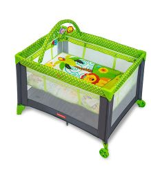 Fisher Price Playmate Portable Baby Cot Cum Play Yard FPBS01 - Green Grey