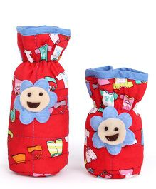 1st Step Bottle Cover Pack of 2 Multi Print - Red