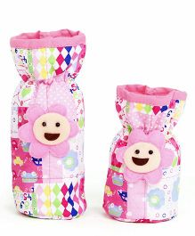 1st Step Bottle Cover Pack of 2 Multi Print - White And Pink