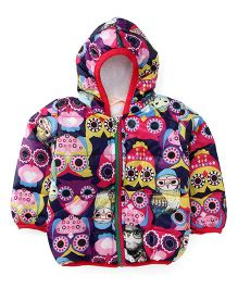 Adores Full Sleeves Hooded Jacket Owl Design - Multicolor