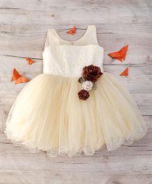 Adores Sleeveless Elegant Party Dress Felt Floral Design - Cream