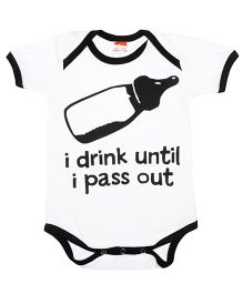 Hugsntugs I Drink Until I Pass Out Print Onesie - White