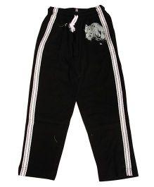 MTB Full Length Track Pants With Drawstring And Lion Print - Black