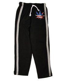 MTB Full Length Track Pants With Drawstring And Leaf Print - Black