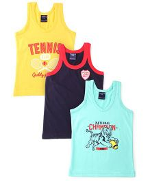 Taeko Sleeveless Vests Pack Of 3 Vests Multi Print - Green Blue Yellow
