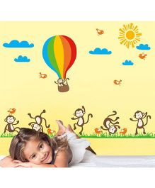 Syga Six Monkey Kids Decals Design Wall Stickers - Multicolour