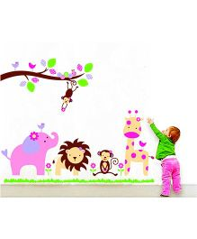 Syga Cartoons Animal Kingdom Kids Room Wall Sticker - Multicolour