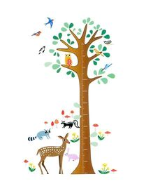 Syga Tree Height Measurement Decals Design Wall Stickers - Multicolour