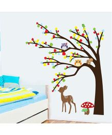 Syga Tree Owl Deer Wall Sticker - Multicolor