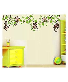Syga Cartoon Monkey Children Decals Design Wall Stickers - Multicolor