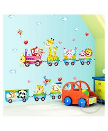 Syga Animal Train Wall Sticker - Multicolor