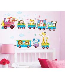 Syga Animals Train Wall Sticker - Multicolor