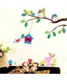 Syga Decals Owl Branches Tree Wall Sticker - Multicolor