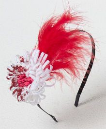 Bunchi Feather With Flower Metal Headband - Red