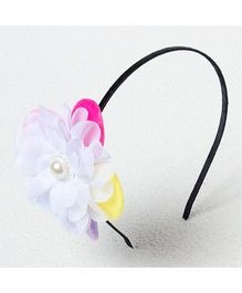 Bunchi Big Flower Metal Headband - White