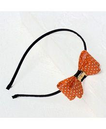 Bunchi Polka Dot Bow Metal Headband - Neon Orange