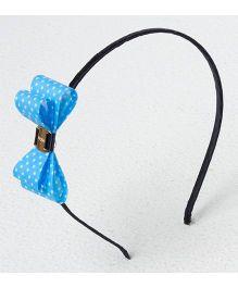 Bunchi Polka Dot Bow Metal Headband - Blue