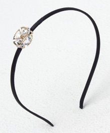 Bunchi Crystal Metal Flower Headband - Gold With Black