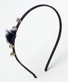 Bunchi Crystal With Flower Headband - Black