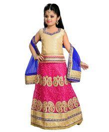 Aarika Zari Embroidered Top Lehenga & Dupatta - Pink Gold & Blue