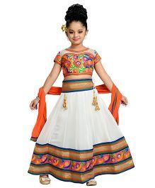 Aarika Thread Embroidered Top Lehenga & Dupatta - White & Orange