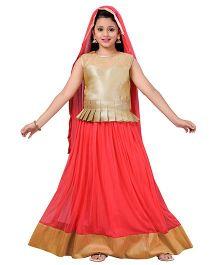Aarika Designer Wear Lehenga Top & Dupatta Set - Gajri Red & Golden