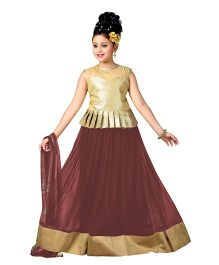 Aarika Designer Wear Lehenga Top & Dupatta Set - Coffee Brown & Golden