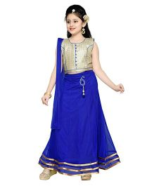 Aarika Self Design Elegant Lehenga Choli & Dupatta Set - Blue & Golden