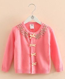 Pre Order - Mauve Collection Cute Pearl Highlighted Jacket - Pink