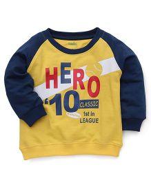 Babyhug Full Sleeve Sweatshirt Hero Print - Yellow Blue