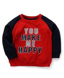 Babyhug Full Sleeve Sweatshirt Happy Print - Red Blue